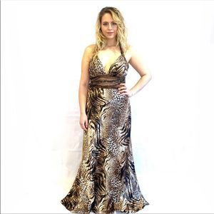 Dave & Johnny Multi Animal Print Evening Gown 16